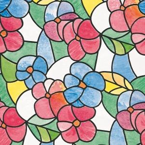 Самоклейка D-C-FIX цв.витражная кр.цветы красные